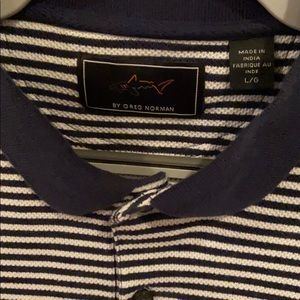 Greg Norman navy white stripped polo